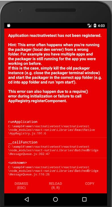Application has not been registered error