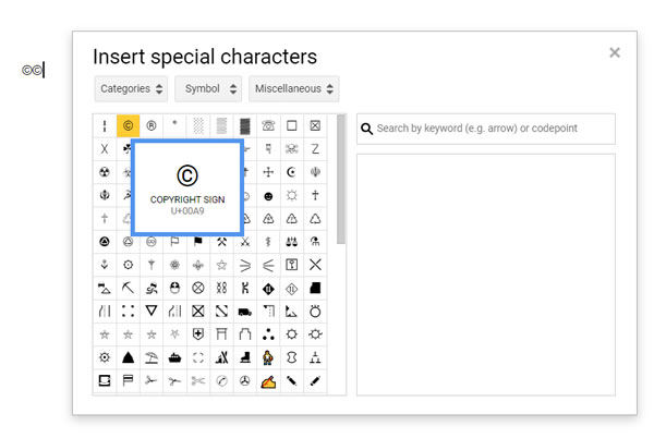 Put Copyright Symbol on a Google Doc