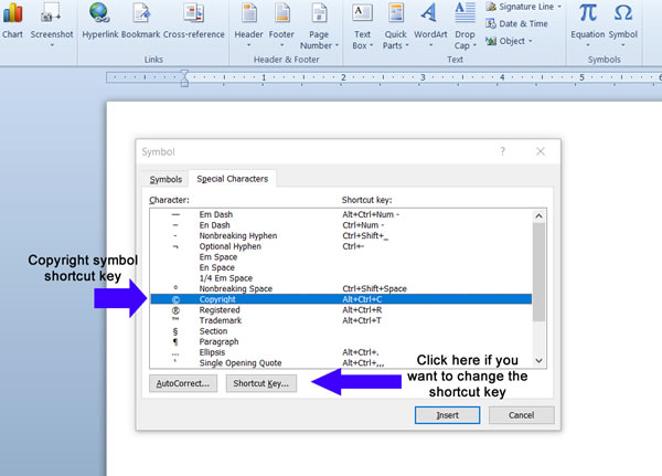 Microsoft Word Copyright Keyboard Shortcut