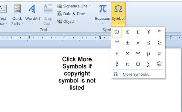 Microsoft Word Insert Symbols