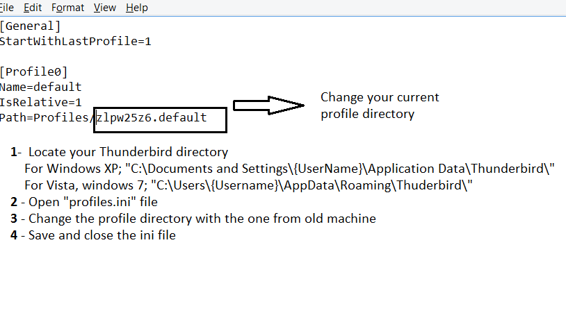 Changing Thunderbird Profile Ini File