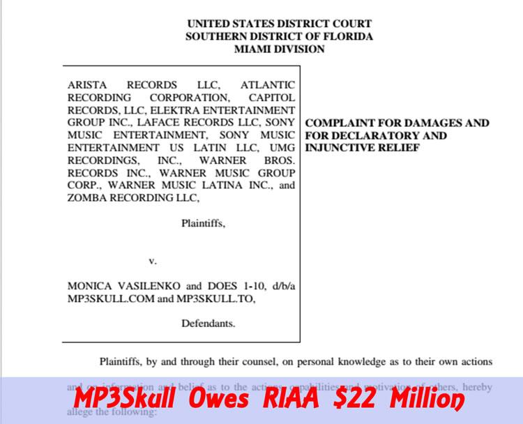 MP3Skull Owes RIAA $22 Million