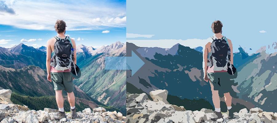 Caricaturesoft - Man on Mountain Photo Cartoon
