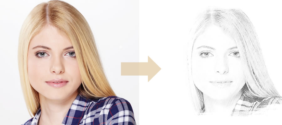 Photofunia - Young Woman Converted into Drawing